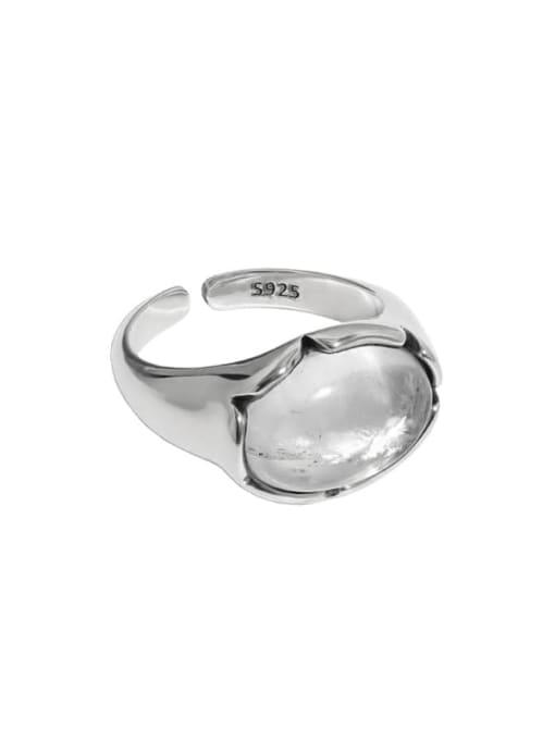 Retro silver [13 adjustable] 925 Sterling Silver Crystal Irregular Vintage Band Ring